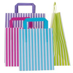 Candy Striped Paper SOS Carrier Bags  Boxed 250