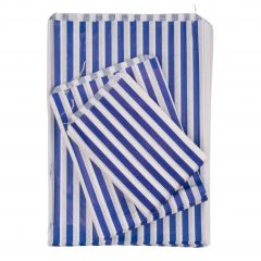 Blue Candy Striped Paper Bags Strung