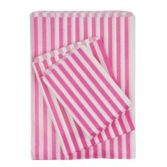 Pink Candy Striped Paper Bags Strung